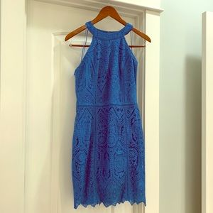Adelyn Rae blue lace sheath dress, EUC, size M